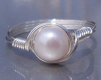 White Pearl Argentium Sterling Silver Wire Wrapped Ring