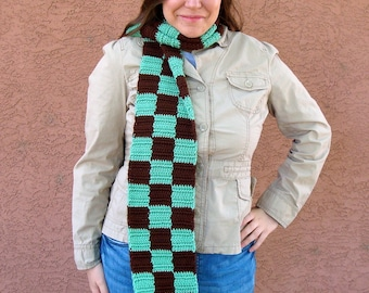 Big Checkers Scarf, Mint Chocolate Chip Scarf  for Men or Women, Mint Green and Chocolate Brown Scarf, Checkered Scarves, Winter, Autumn