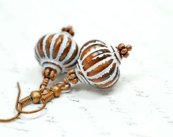 Copper Boho Earrings, Vintage Bohemian Earrings, White and Bronze Striped Earrings, Curvy Dangles, Bombe Beads, Vintage Beaded Earrings