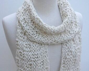 Cotton-LLama Scarf- Hand Knit- White/Cream