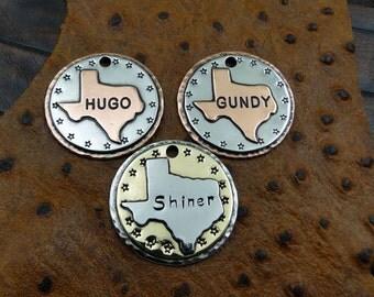 Texas Dog ID Tag,Custom Pet ID Tag-Handmade Metal Dog Collar ID Tag,Personalized Dog Texas Dog Tag