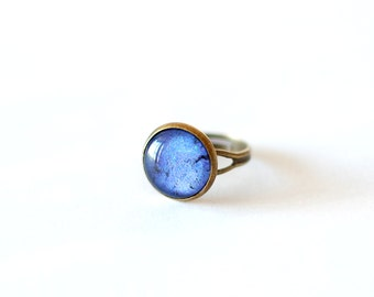 Lapis Lazuli Ring. Blue Ring. Lapis Ring. Adjustable Ring. Glass Dome Ring.