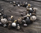 Black and White Organic Necklace Raw Gemstone Beaded Nature Jewelry Earthy Lava Stone Rock Amber Pearl Crystal Eco Friendly Linen Yin Yang
