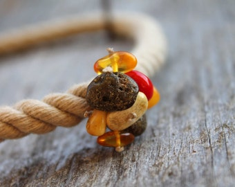 Sailor Rope Necklace Summer Fashion Jewery Amber Red Coral Pendant Gray Linen Brown Earthy Yellow Nautical Gift for Her
