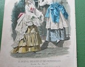 Victorian Godey's Fashion Color Print, Picking Flowers