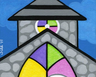 White CAT in CHURCH Cathedral Window Folk Art PRINT from Original Painting by Jill