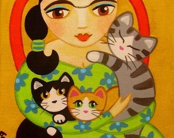 FRIDA Kahlo & 3 CATS Folk Art PRINT from Original Painting by Jill