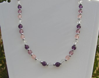 Purple and Pink Frosted beaded necklace