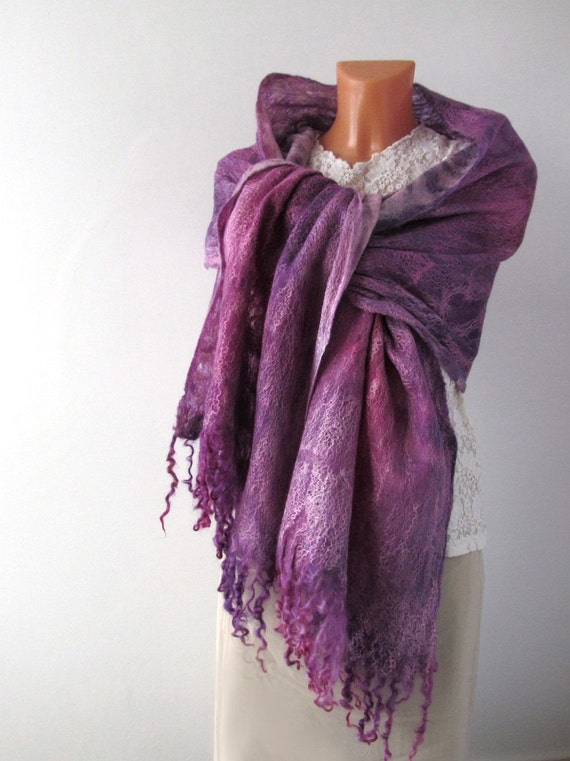 Cobweb Felted scarf -  Lavender purple amethyst magenta Pink