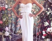 "Chic, Tailored Bustier Wedding Dress with Lace, Strapless Sweetheart neckline, Floor length Crepe column skirt, The ""Phoebe-Jane"""