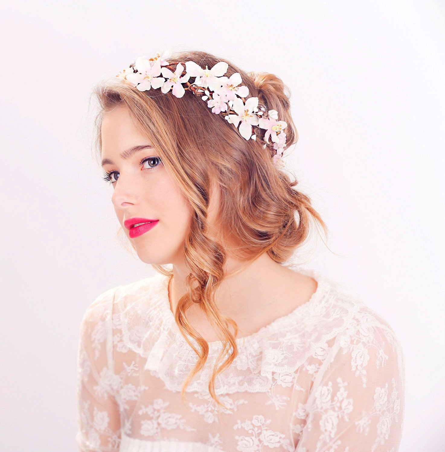 cherry blossom flower crown wedding headpiece flower crown