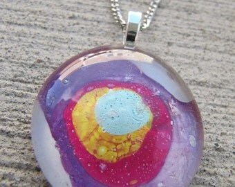 Glass necklace, painted, pink,white,jewelry,pendant
