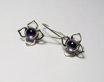 Lotus flower earrings with your choice of stone