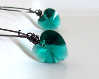 Emerald Green Heart Earrings, Swarovski Crystal, Dark Green, Valentines Gift, Gunmetal, Wire Wrapped, Under 20, Heart Earrings