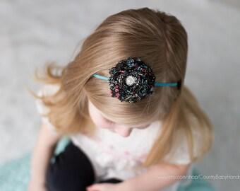 Shabby Rose Headband with Pearl and Rhinestone Center...Baby Headband...Newborn Headband...Baby Flower Headband...Toddler Headband