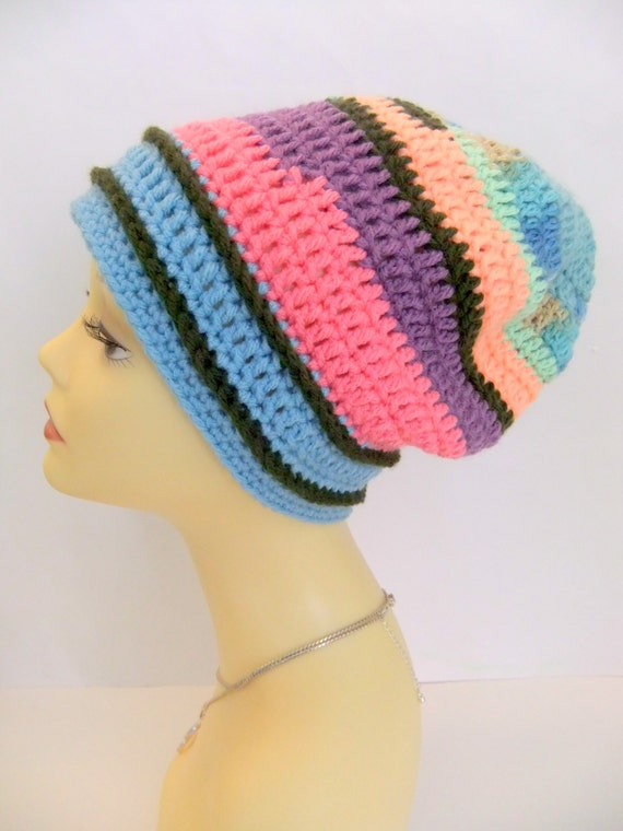 Free Crochet Pattern Multi Colored Hat : Items similar to Multi-Color Crochet Beanie Hat on Etsy