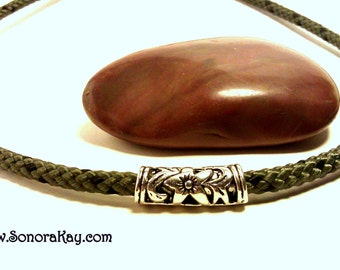 Camouflage Rope Necklace with Silver Flower Bead Custom Custom Made to Order
