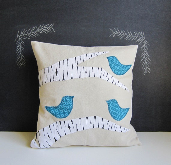 Winter blue birds in a birch tree pillow cover
