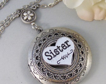 SALE Sister's Locket,Locket,Silver Locket, Mom,Sister,Necklace,Antique Locket,Lace,Necklace. Handmade Jewelry by valleygirldesigns