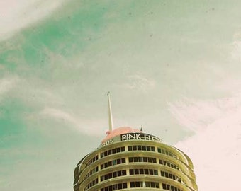 Capitol Records, Los Angeles Print, Mint Green, Gold, Beige, Retro Decor, California Print, Pastel Decor, Rock and Roll
