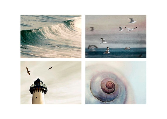 SALE, Beach Prints, Ocean Photos, Blue, Gray, White, Set of 4 Prints, Ocean Photography, Nautical, Bathroom Wall Art