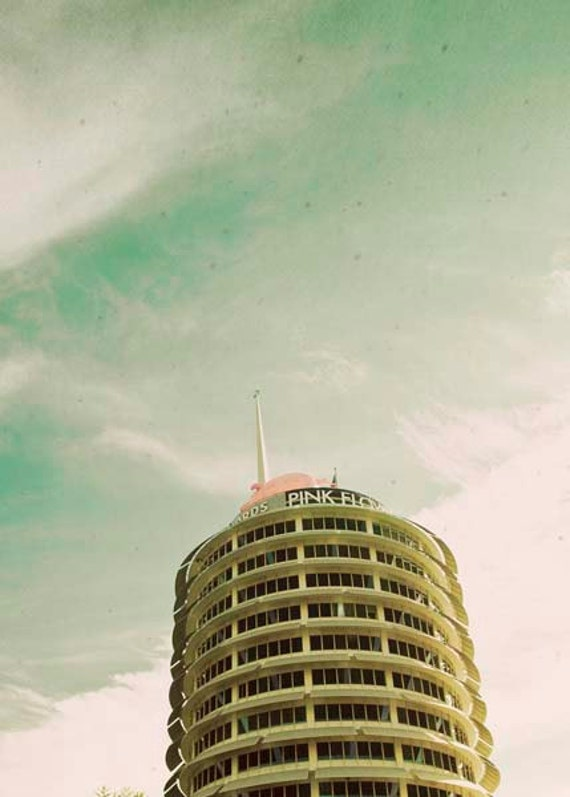 Capitol Records Photo, Los Angeles Prints, Mint Gold Wall Art, Green Beige Prints, Retro California Prints, Rock and Roll Wall Art Prints