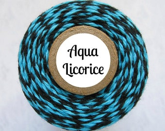 Aqua and Black Bakers Twine by Trendy Twine - Aqua Licorice