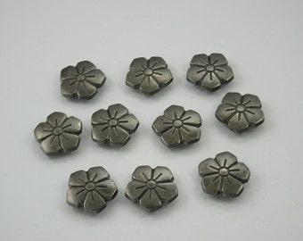 10 pcs.Zinc Gunmetal Flowers Floral Rivet Stud Button Leather Craft 16 mm. Flw Gun16 33