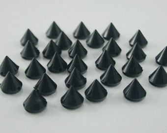 50 pcs. Acrylic Black Cone Spikes Beads Charms Pendants Decoration Finding 10 mm. BD C10 CH