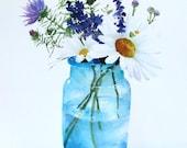 daisy bouquet watercolor painting archival print