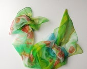 Green scarf on chiffon silk - hand painted scarves - wearable art painted 18x72