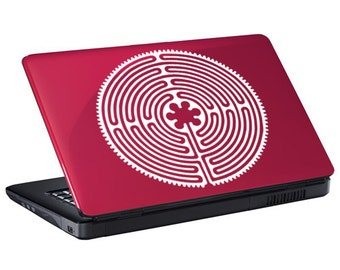 "Chartres Labyrinth Decal / Labyrinth Laptop Sticker / Maze Laptop Decal / Chartres Car Sticker / Maze Sticker / 7.50""h x 7.50""w / #147"