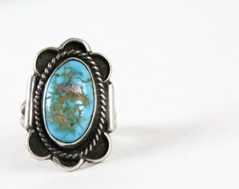 Vintage Oversized Sterling Silver Turquoise Ring