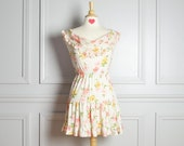 Dress Mini Day Sun Floral / White Pink Yellow / Valentine's Day Romantic / Ruffles / 70s Vintage / Extra Extra Small XXS - thriftage