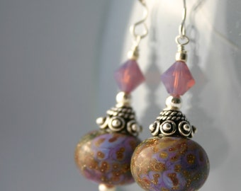 Purple Lampwork Glass Sterling Silver Earrings