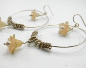 Sterling Silver Large hoop earrings Coiled and Wire wrapped hoops Flower Earrings Handmade Artisan Womens Fashion Jewelry