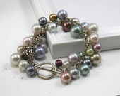 Pastel Pearl Cluster Bracelet Multi color Pearl Charm bracelet Sterling Silver Wire wrapped
