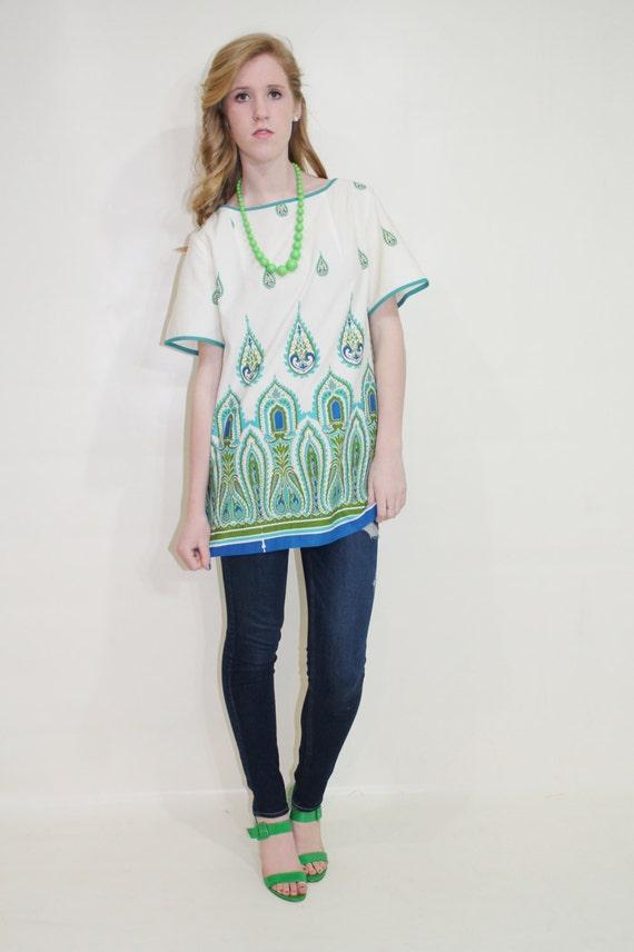 60s Tunic Blouse Shaheen Hawaiian Top Large L Vintage Short Sleeve Shirt 1960s Hippie Boho