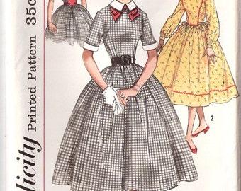 "Vintage 50s Simplicity Dress Pattern 2179, Size 17, 37"" Bust, UC"