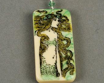 Mermaid Necklace - Mermaid Pendant - Domino Necklace - Green