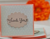 Mini Cards Thank you Mini Cards Blank Cards- Beige Polka dot  light seafoam on Coral