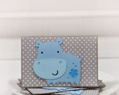 Hippo Hippopotamus- Blank Cards Thank You Cards Mini Cards ( Set of 4)