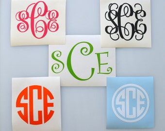 Vinyl Monogram Decal - 16 Colors - Any Size