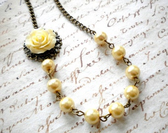 Ivory Bridesmaid Necklace Rose Flower Necklace Pearl Choker Necklace Ivory Wedding Jewelry Ivory Pearl Necklace Bridesmaid Rose Necklace