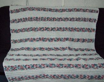 Herringbone Afghan Large Bedspread Crochet Afghan
