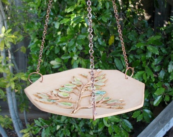 Ceramic Hanging Bird Feeder - Decorated with Real Spray of  Money Plant Leaves - Hexagon Shape Clay Birdfeeder - Garden Decor - Yard Art
