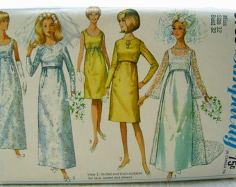 Simplicity 6759 Lace Wedding Dress 1960s Vintage Sewing Pattern Bust 32
