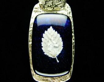 Fine Silver Dichroic Glass Leaf Slide Pendant