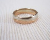 ESTATE Artisan Crafted 14K Rose and White Gold Wedding Band Engagement Ring Womens Mens or Unisex
