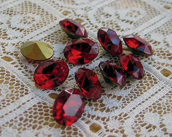 8x6 Swaovski Siam Dark Red Oval Glass Rhinestones